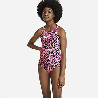 Nike Traje de baño de una sola pieza con tirantes cruzados para niñas talla grande