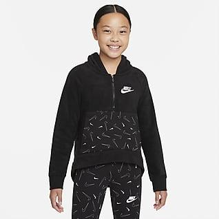 Nike Sportswear Club Sudadera con gorro de medio cierre para niña talla grande