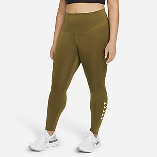 Nike Swoosh Run Женские слегка укороченные тайтсы для бега (большие размеры)