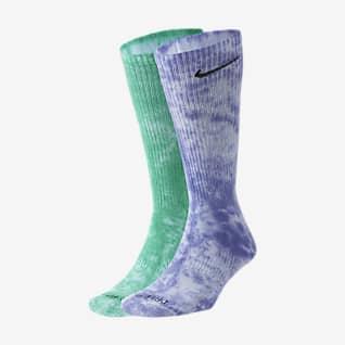Nike Everyday Plus ถุงเท้าลายมัดย้อมลดแรงกระแทกข้อยาว (2 คู่)