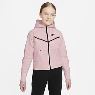 Nike Sportswear Tech Fleece 大童(女孩)全长拉链开襟连帽衫