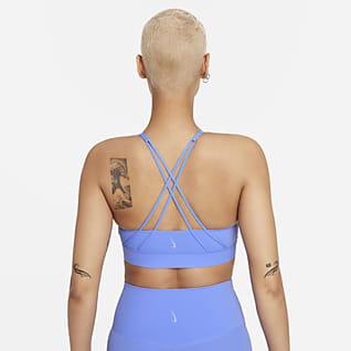 Nike Swoosh Luxe Sport-BH mit langem Design, mittlerem Halt und Polster für Damen