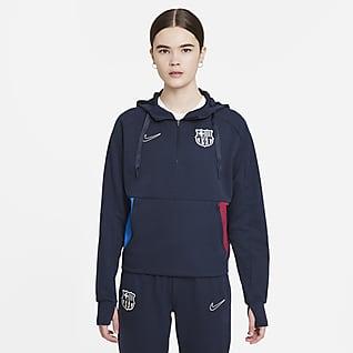 F.C. Barcelona Women's 1/4-Zip Fleece Football Hoodie