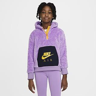 Nike Air Mikina skapucí aimitací beránka pro větší děti (dívky)