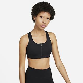 Nike Dri-FIT Shape Sports-bh med højt støtteniveau, indlæg og lynlås foran til kvinder