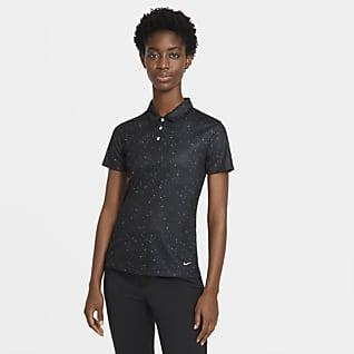 Nike Dri-FIT Golfpolo met korte mouwen en print voor dames