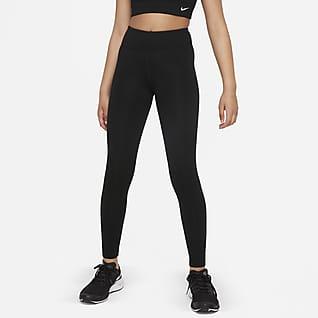 Nike Dri-FIT One Luxe Leggings med hög midja för ungdom (tjejer)