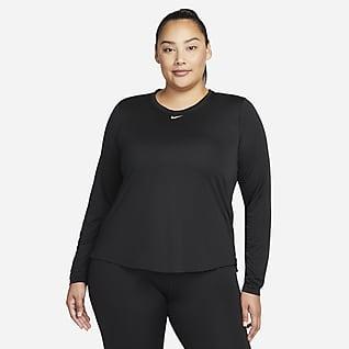 Nike Dri-FIT One Långärmad tröja med standardpassform för kvinnor (Plus Size)