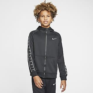 Nike Sportswear Swoosh Hettejakke med hel glidelås til store barn (gutt)