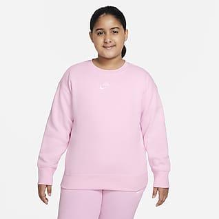 Nike Sportswear Club Fleece Crewtrøje (udvidet størrelse) til større børn (piger)