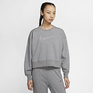 Nike Dri-FIT Get Fit Swoosh emblémás, kerek nyakkivágású női edzőpulóver