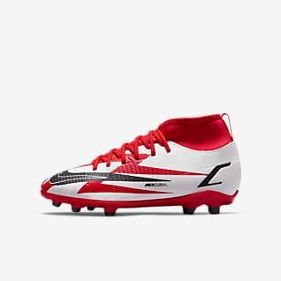 Nike Jr. Mercurial Superfly 8 Club CR7 MG รองเท้าสตั๊ดฟุตบอลเด็กเล็ก/เด็กโตสำหรับพื้นหลายประเภท