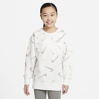 Nike Sportswear Sudadera de cuello redondo con estampado de French Terry para niña talla grande