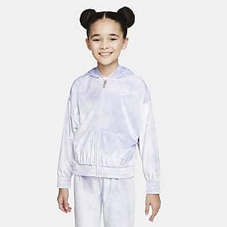 Nike Sudadera con gorro de cierre completo de velour para niños talla pequeña