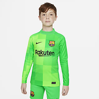 F.C. Barcelona 2021/22 Stadium Goalkeeper Older Kids' Long-Sleeve Football Shirt