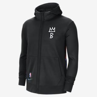 Μπρούκλιν Νετς Showtime City Edition Ανδρική μπλούζα με κουκούλα Nike Therma Flex NBA