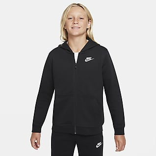 Nike Sportswear Club Hoodie van sweatstof met rits voor jongens