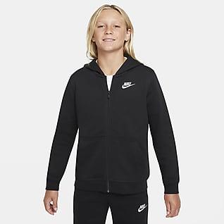 Nike Sportswear Club Hosszú cipzáras, kapucnis francia frottír pulóver nagyobb gyerekeknek (fiúknak)