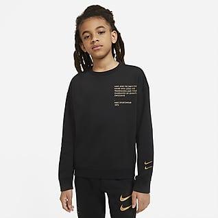 Nike Sportswear Sudadera de cuello redondo con logotipo Swoosh para niño talla grande