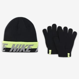 Nike Conjunto de gorro y guantes para niños talla grande