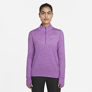 Nike Женская беговая футболка с молнией на половину длины