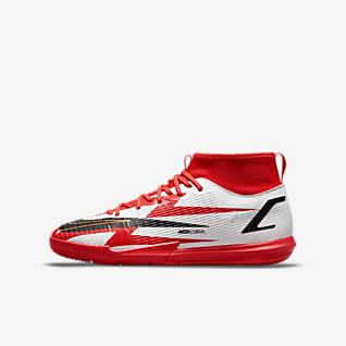 Nike Jr. Mercurial Superfly 8 Academy CR7 IC รองเท้าฟุตบอลเด็กเล็ก/โตสำหรับสนามในร่ม/คอร์ท