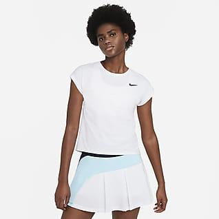 NikeCourt Dri-FIT Victory Kortärmad tenniströja för kvinnor