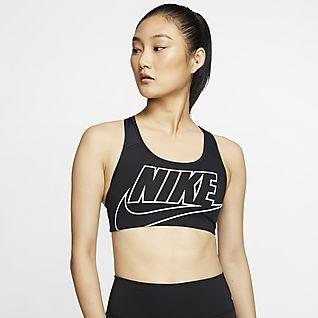 Nike Swoosh Közepes tartást adó, párnázás nélküli, emblémás női sportmelltartó