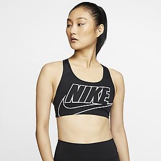 Nike Swoosh Sports-BH med innlegg i én del og middels støtte til dame