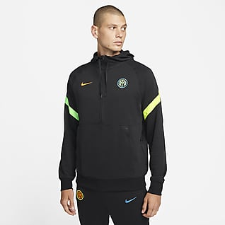 Inter Milan Sweat à capuche de football à demi-zip en tissu Fleece pour Homme