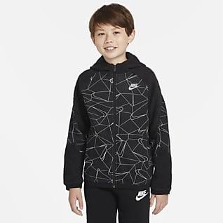 Nike Sportswear Club Vinteranpassad huvtröja med hel dragkedja för ungdom (killar)