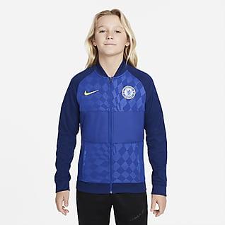 Chelsea FC Chamarra de entrenamiento de fútbol con cierre completo para niños talla grande
