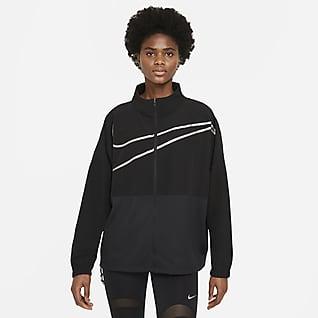 Nike Pro Camisola entrançada com fecho completo para mulher