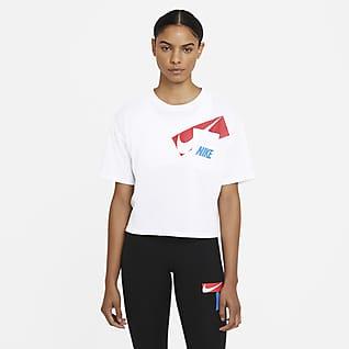Nike Dri-FIT Damska krótka koszulka treningowa z nadrukiem