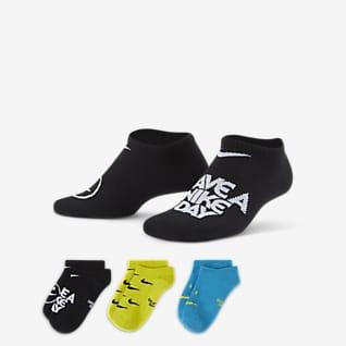Nike Everyday Lightweight No-Show 大童运动童袜(3 双)