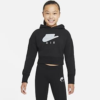 Nike Air Rövidített kapucnis francia frottír pulóver nagyobb gyerekeknek (lányoknak)
