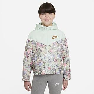 Nike Sportswear Windrunner Big Kids' (Girls') Printed Jacket (Extended Size)