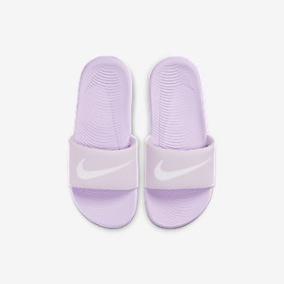 Chinelos Nike Kawa Slide Criança Roxa Azul Branco Azul