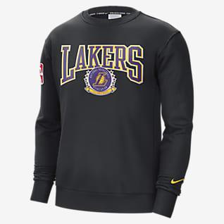 Los Angeles Lakers Courtside Nike NBA-fleeceshirt met ronde hals voor heren