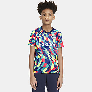 F.C. Barcelona Older Kids' Pre-Match Short-Sleeve Football Top