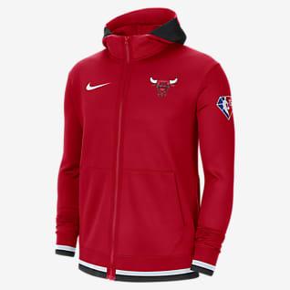 Chicago Bulls Nike Showtime Nike Dri-FIT NBA-huvtröja med hel dragkedja för män