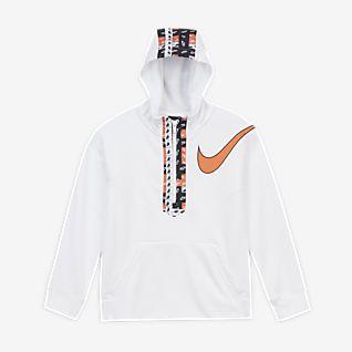 Nike Dri-FIT Sudadera con capucha de medio cierre para entrenamiento estampada para niño talla grande