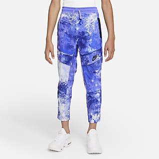 Nike Sportswear Pantalones tie-dye de 3/4 de largo de tejido Woven para niño talla grande