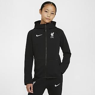 Liverpool FC Tech Fleece Essentials Felpa con cappuccio e zip a tutta lunghezza - Ragazzi