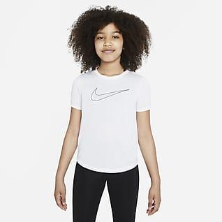 Nike Dri-FIT One Kortermet treningsoverdel til store barn (jente)