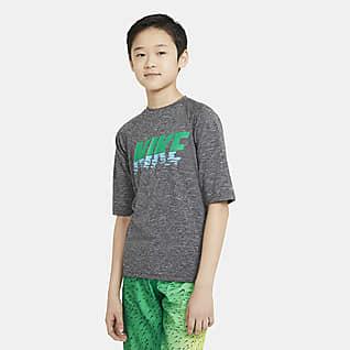 Nike Camiseta de natación Hydroguard de manga corta para niños talla grande