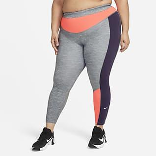Nike One Γυναικείο κολάν 7/8 με μελανζέ όψη και χρωματικούς συνδυασμούς (μεγάλα μεγέθη)