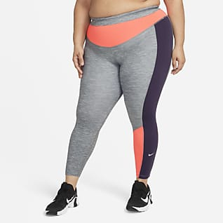 Nike One Женские слегка укороченные меланжевые леггинсы с цветовыми блоками (большие размеры)