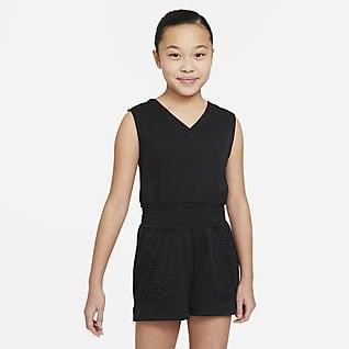 Nike Dri-FIT Treningsbuksedress til store barn (jente)