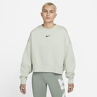 Nike Sportswear Collection Essentials Oversized fleecetop met ronde hals voor dames
